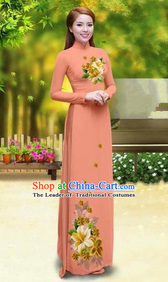 Traditional Top Grade Asian Vietnamese Costumes Classical Printing Greenish Lily Flower Cheongsam, Vietnam National Vietnamese Young Lady Orange Chiffon Ao Dai Dress