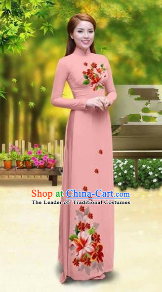 Traditional Top Grade Asian Vietnamese Costumes Classical Printing Greenish Lily Flower Cheongsam, Vietnam National Vietnamese Young Lady Pink Chiffon Ao Dai Dress