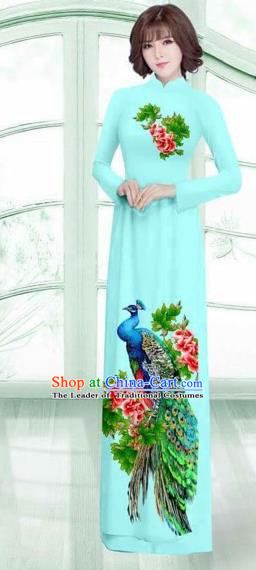 Traditional Top Grade Asian Vietnamese Costumes Classical Printing Peacock Cheongsam, Vietnam National Vietnamese Young Lady Light Blue Ao Dai Dress