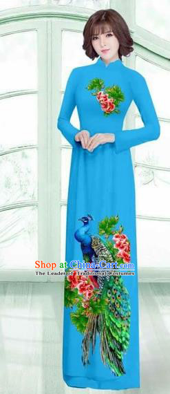 Traditional Top Grade Asian Vietnamese Costumes Classical Printing Peacock Cheongsam, Vietnam National Vietnamese Young Lady Blue Ao Dai Dress