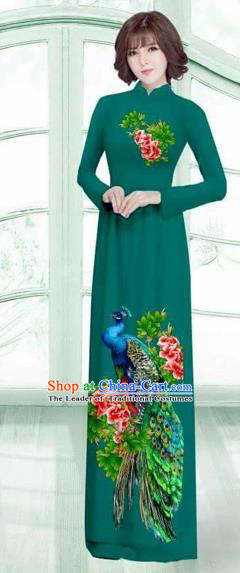 Traditional Top Grade Asian Vietnamese Costumes Classical Printing Peacock Cheongsam, Vietnam National Vietnamese Young Lady Green Ao Dai Dress