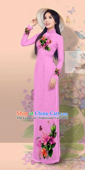 Traditional Top Grade Asian Vietnamese Costumes Classical 3D Printing Cheongsam, Vietnam National Vietnamese Young Lady Miss Etiquette Pinkish Purple Ao Dai Dress