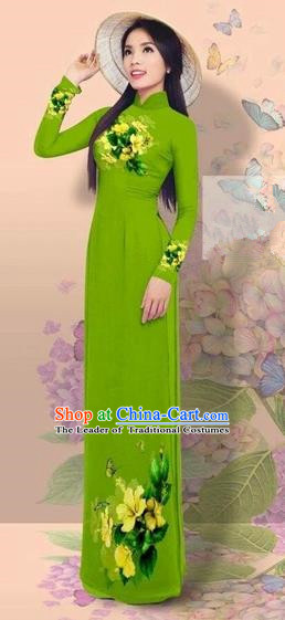 Traditional Top Grade Asian Vietnamese Costumes Classical 3D Printing Cheongsam, Vietnam National Vietnamese Young Lady Miss Etiquette Green Ao Dai Dress