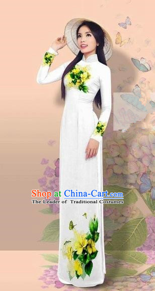 Traditional Top Grade Asian Vietnamese Costumes Classical 3D Printing Cheongsam, Vietnam National Vietnamese Young Lady Miss Etiquette White Ao Dai Dress