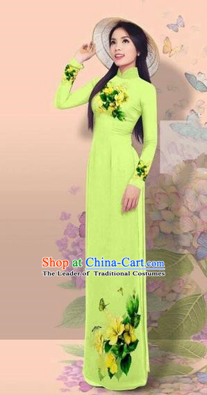 Traditional Top Grade Asian Vietnamese Costumes Classical 3D Printing Cheongsam, Vietnam National Vietnamese Young Lady Miss Etiquette Light Green Ao Dai Dress
