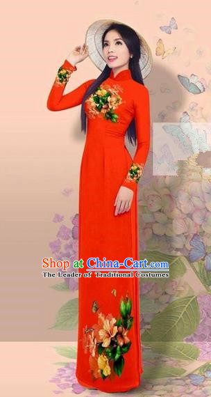 Traditional Top Grade Asian Vietnamese Costumes Classical 3D Printing Cheongsam, Vietnam National Vietnamese Young Lady Miss Etiquette Red Ao Dai Dress