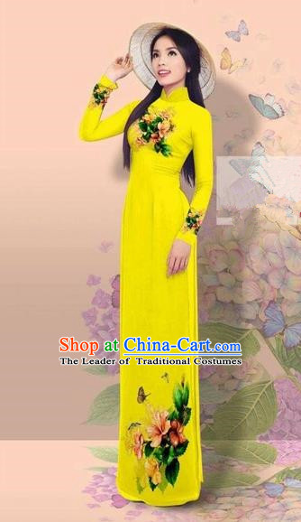 Traditional Top Grade Asian Vietnamese Costumes Classical 3D Printing Cheongsam, Vietnam National Vietnamese Young Lady Miss Etiquette Bright Yellow Ao Dai Dress