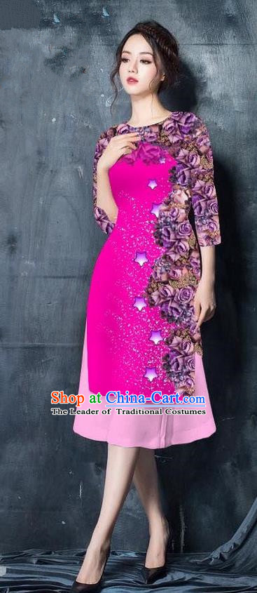 Traditional Top Grade Asian Vietnamese Costumes Classical Printing Rosy Cheongsam, Vietnam National Vietnamese Bride Ao Dai Dress for Women