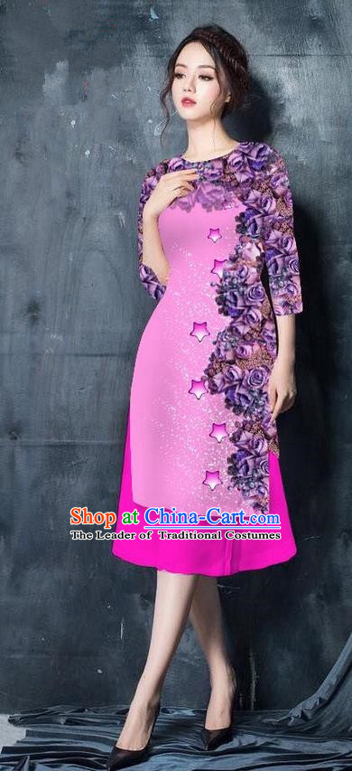 Traditional Top Grade Asian Vietnamese Costumes Classical Printing Peachpuff Cheongsam, Vietnam National Vietnamese Bride Ao Dai Dress for Women