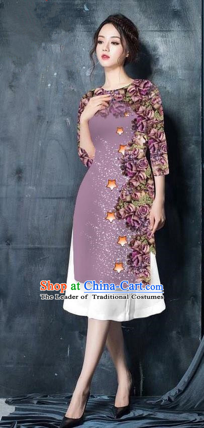 Traditional Top Grade Asian Vietnamese Costumes Classical Printing Lilac Cheongsam, Vietnam National Vietnamese Bride Ao Dai Dress for Women
