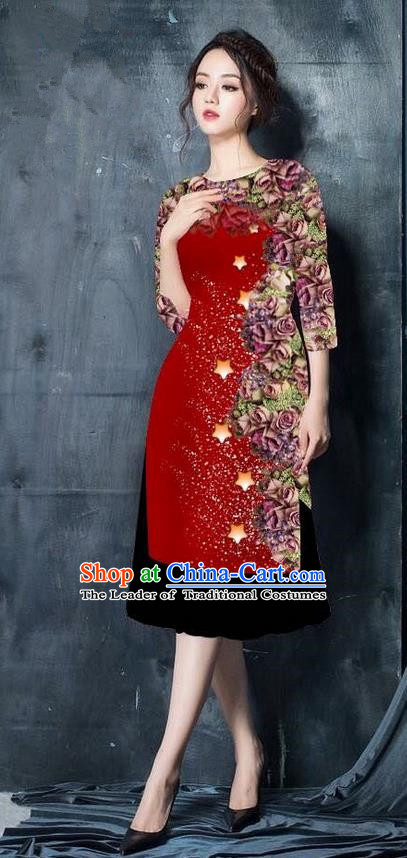 Traditional Top Grade Asian Vietnamese Costumes Classical Printing Wine Red Cheongsam, Vietnam National Vietnamese Bride Ao Dai Dress for Women