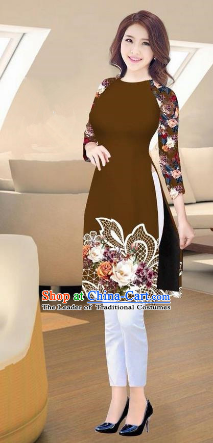Traditional Top Grade Asian Vietnamese Costumes Classical Printing Brown Short Cheongsam, Vietnam National Vietnamese Ao Dai Dress for Women