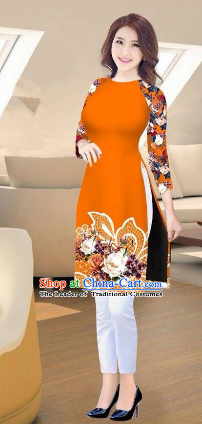 Traditional Top Grade Asian Vietnamese Costumes Classical Printing Orange Short Cheongsam, Vietnam National Vietnamese Ao Dai Dress for Women