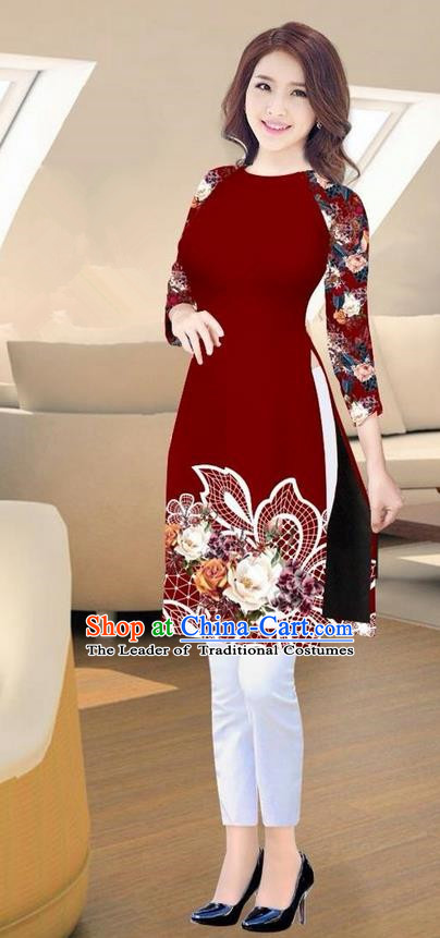 Traditional Top Grade Asian Vietnamese Costumes Classical Printing Purplish Red Short Cheongsam, Vietnam National Vietnamese Ao Dai Dress for Women