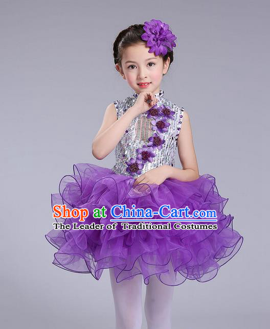 Top Grade Professional Compere Modern Dance Costume, Children Opening Dance Chorus Flowers Uniforms Princess Purple Bubble Dress for Girls