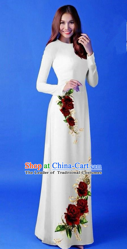 Traditional Top Grade Asian Vietnamese Costumes Classical 3D Printing White Long Cheongsam, Vietnam National Vietnamese Princess Ao Dai Dress for Women
