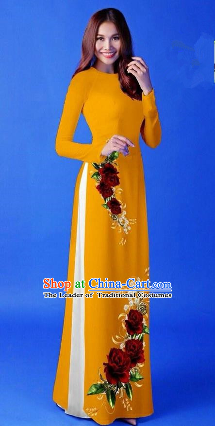 Traditional Top Grade Asian Vietnamese Costumes Classical 3D Printing Ginger Long Cheongsam, Vietnam National Vietnamese Princess Ao Dai Dress for Women