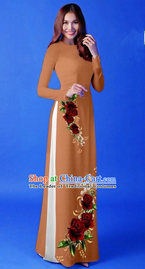 Traditional Top Grade Asian Vietnamese Costumes Classical 3D Printing Coffee Long Cheongsam, Vietnam National Vietnamese Princess Ao Dai Dress for Women