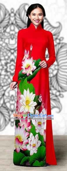 Traditional Top Grade Asian Vietnamese Costumes Classical Printing Lotus Cheongsam, Vietnam National Vietnamese Young Lady Miss Etiquette Red Ao Dai Dress