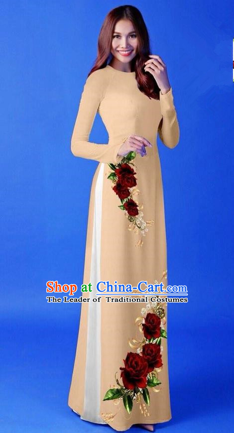 Traditional Top Grade Asian Vietnamese Costumes Classical 3D Printing Khaki Long Cheongsam, Vietnam National Vietnamese Princess Ao Dai Dress for Women