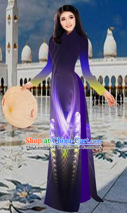 Top Grade Asian Vietnamese Costumes Classical 3D Printing Purple Long Cheongsam, Vietnam National Vietnamese Traditional Princess Ao Dai Dress for Women