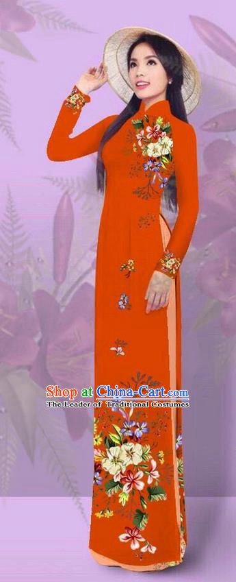 Top Grade Asian Vietnamese Costumes Classical Jing Nationality Printing Orange Cheongsam, Vietnam National Vietnamese Traditional Princess Ao Dai Dress for Women