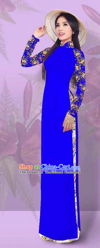 Top Grade Asian Vietnamese Costumes Classical Jing Nationality Printing Royalblue Cheongsam, Vietnam National Vietnamese Traditional Princess Ao Dai Dress for Women