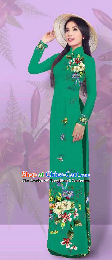 Top Grade Asian Vietnamese Costumes Classical Jing Nationality Printing Green Cheongsam, Vietnam National Vietnamese Traditional Princess Ao Dai Dress for Women