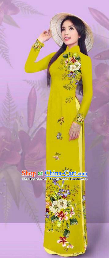 Top Grade Asian Vietnamese Costumes Classical Jing Nationality Printing Ginger Cheongsam, Vietnam National Vietnamese Traditional Princess Ao Dai Dress for Women