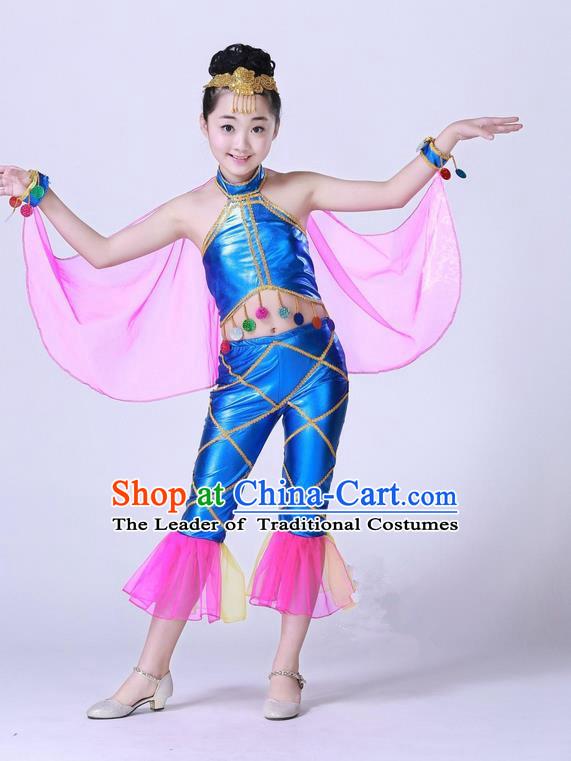 1199d925dfd2 Top Grade Professional Compere Modern Dance Costume, Children Opening Dance  Chorus Fish Dance Uniforms Blue Clothing Complete Set for Girls