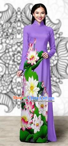 Traditional Top Grade Asian Vietnamese Costumes Classical Printing Lotus Cheongsam, Vietnam National Vietnamese Young Lady Miss Etiquette Lilac Ao Dai Dress