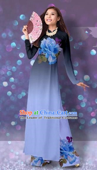 Traditional Top Grade Asian Vietnamese Costumes Classical Printing Cheongsam, Vietnam National Vietnamese Princess Lake Blue Ao Dai Dress Dance Clothing