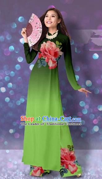 Traditional Top Grade Asian Vietnamese Costumes Classical Printing Cheongsam, Vietnam National Vietnamese Princess Grass Green Ao Dai Dress Dance Clothing