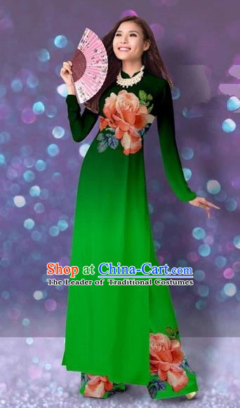 Traditional Top Grade Asian Vietnamese Costumes Classical Printing Cheongsam, Vietnam National Vietnamese Princess Deep Green Ao Dai Dress Dance Clothing