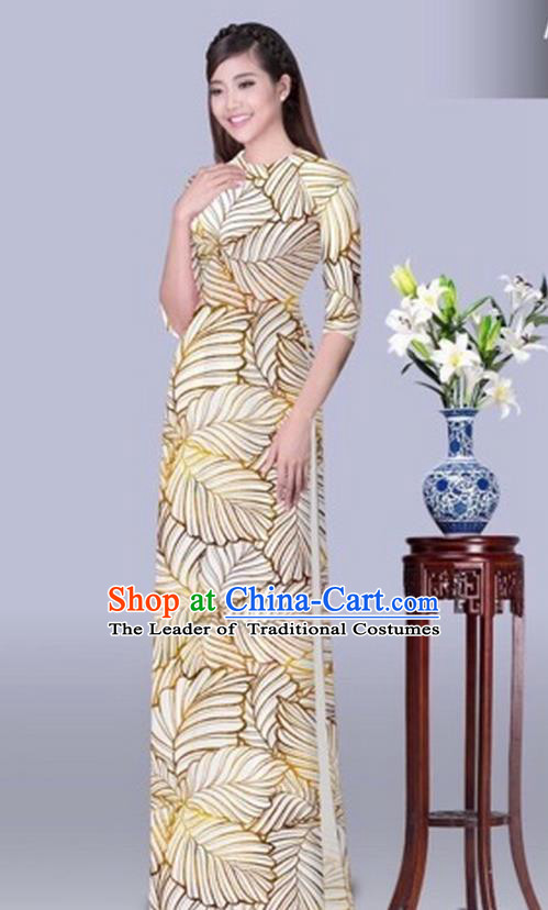 Traditional Top Grade Asian Vietnamese Costumes Classical Printing Leaf Cheongsam, Vietnam National Vietnamese Princess Bride Beige Ao Dai Dress Dance Clothing