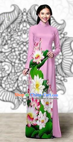 Traditional Top Grade Asian Vietnamese Costumes Classical Printing Lotus Cheongsam, Vietnam National Vietnamese Young Lady Miss Etiquette Pink Ao Dai Dress