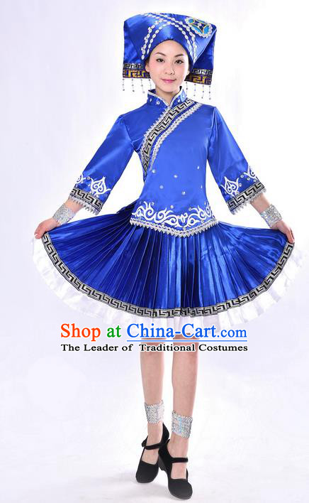 Traditional Chinese Zhuang Nationality Dancing Costume, Zhuang Zu Female Folk Dance Ethnic Pleated Skirt, Chinese Minority Nationality Embroidery Blue Dress for Women