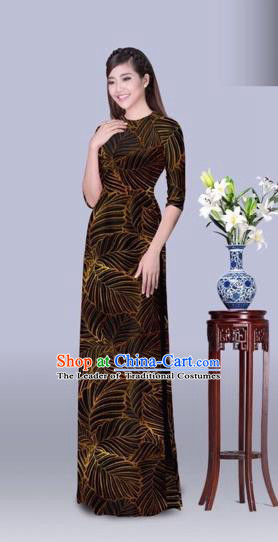 Traditional Top Grade Asian Vietnamese Costumes Classical Printing Leaf Cheongsam, Vietnam National Vietnamese Princess Bride Brown Ao Dai Dress Dance Clothing