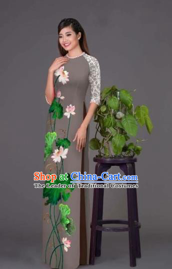 Traditional Top Grade Asian Vietnamese Costumes Classical Printing Lotus Grey Cheongsam, Vietnam National Vietnamese Princess Bride Korean Silk Ao Dai Dress