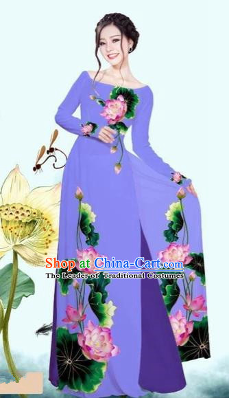 Traditional Top Grade Asian Vietnamese Costumes Classical Printing Lotus Purple Cheongsam, Vietnam National Vietnamese Princess Bride Off Shoulder Ao Dai Dress