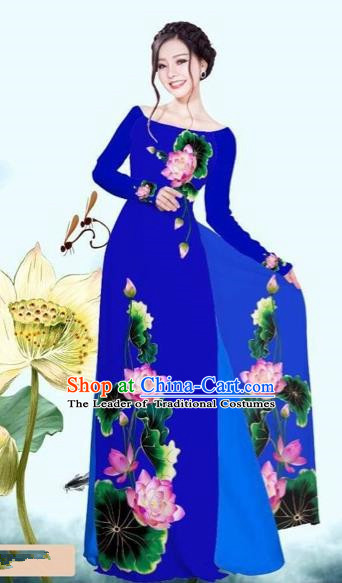 Traditional Top Grade Asian Vietnamese Costumes Classical Printing Lotus Royalblue Cheongsam, Vietnam National Vietnamese Princess Bride Off Shoulder Ao Dai Dress