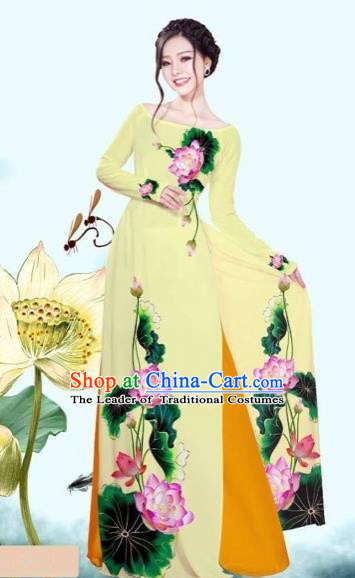 Traditional Top Grade Asian Vietnamese Costumes Classical Printing Lotus Yellow Cheongsam, Vietnam National Vietnamese Princess Bride Off Shoulder Ao Dai Dress