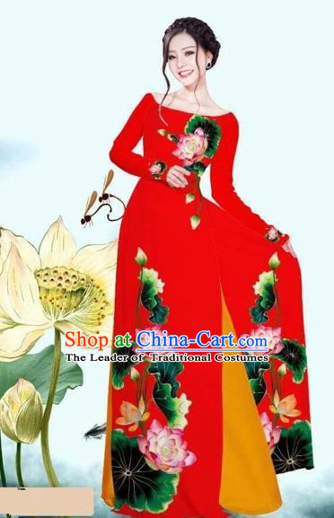 Traditional Top Grade Asian Vietnamese Costumes Classical Printing Lotus Red Cheongsam, Vietnam National Vietnamese Princess Bride Off Shoulder Ao Dai Dress