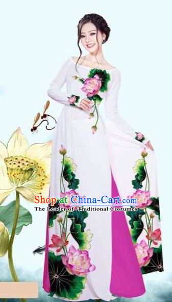 Traditional Top Grade Asian Vietnamese Costumes Classical Printing Lotus White Cheongsam, Vietnam National Vietnamese Princess Bride Off Shoulder Ao Dai Dress