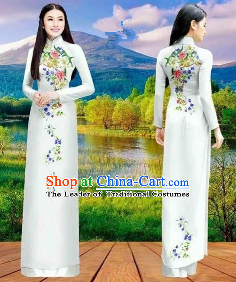 Traditional Top Grade Asian Vietnamese Costumes Classical Double-sided Printing Cheongsam, Vietnam National Vietnamese Princess Bride White Ao Dai Dress Dance Clothing