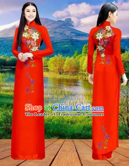 Traditional Top Grade Asian Vietnamese Costumes Classical Double-sided Printing Cheongsam, Vietnam National Vietnamese Princess Bride Red Ao Dai Dress Dance Clothing