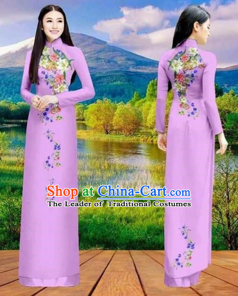 Traditional Top Grade Asian Vietnamese Costumes Classical Double-sided Printing Cheongsam, Vietnam National Vietnamese Princess Bride Purple Ao Dai Dress Dance Clothing