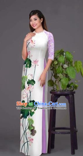 Traditional Top Grade Asian Vietnamese Costumes Classical Printing Lotus White Cheongsam, Vietnam National Vietnamese Princess Bride Korean Silk Ao Dai Dress