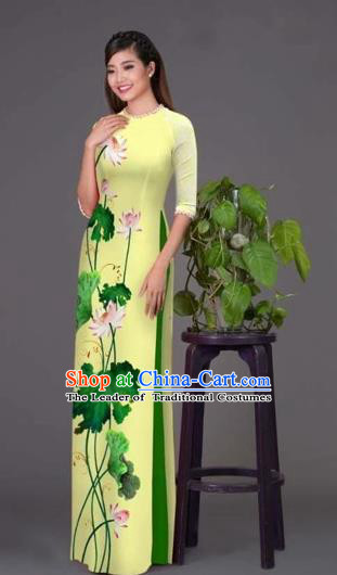 Traditional Top Grade Asian Vietnamese Costumes Classical Printing Lotus Yellow Cheongsam, Vietnam National Vietnamese Princess Bride Korean Silk Ao Dai Dress