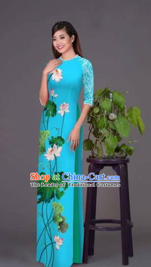 Traditional Top Grade Asian Vietnamese Costumes Classical Printing Lotus Blue Cheongsam, Vietnam National Vietnamese Princess Bride Korean Silk Ao Dai Dress
